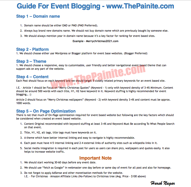 One Page Event Blogging Guide - Step By Step