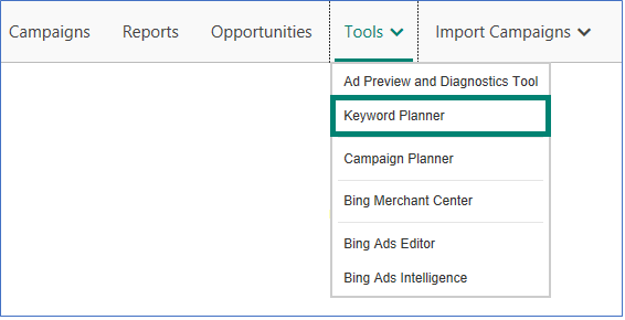 Bing Keyword Planner