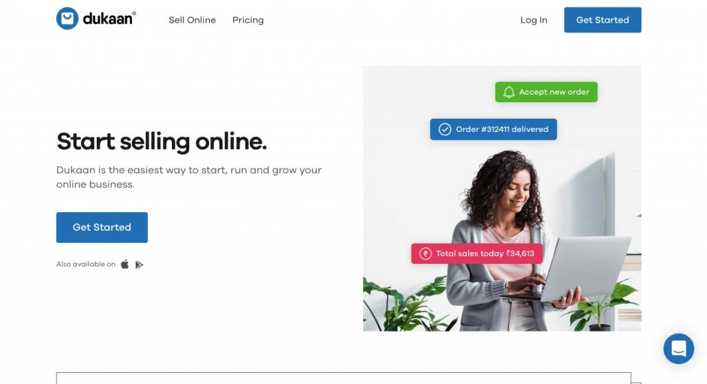 Dukaan App - Homepage